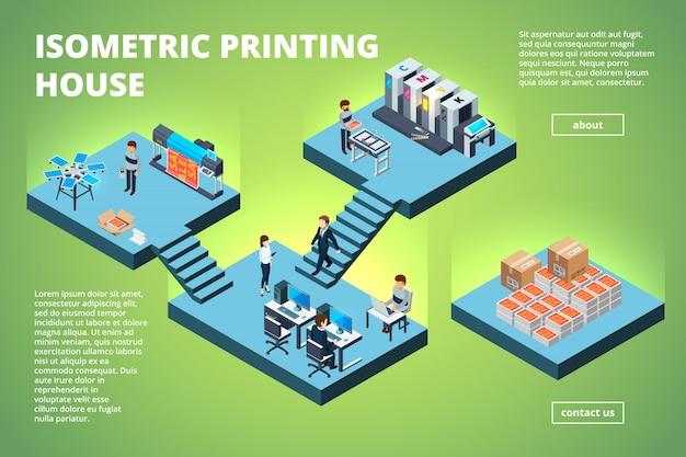 Edificio de imprenta, oficina de producción de impresión industrial, interior, máquinas de impresión offset de inyección de tinta, copiadora, impresora isométrica