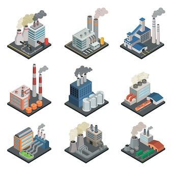 Edificio industrial de fábrica de elementos isométricos en 3d