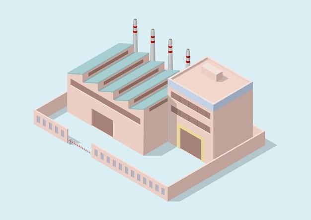 Edificio industrial simple isométrico.