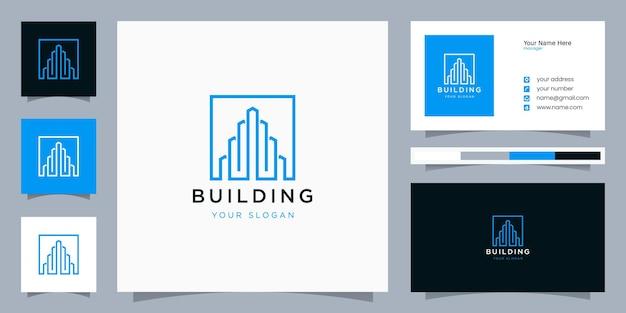 Edificio inspirador con logotipo de estilo de arte lineal y tarjeta de visita.