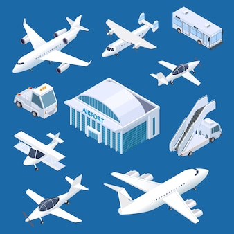 Edificio isométrico del aeropuerto, aviones y transporte en el conjunto del aeropuerto