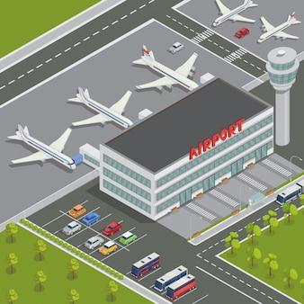 Edificio isométrico del aeropuerto. terminal del aeropuerto con aviones. viajes de aire avión de pasajeros. ilustración vectorial