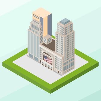 Edificio isométrico de la bolsa de nueva york