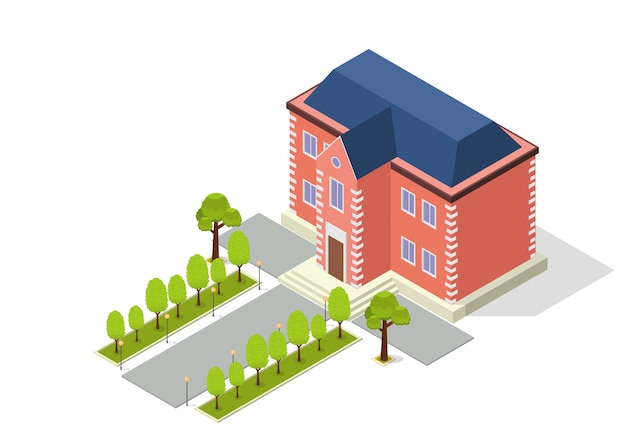 Edificio isométrico con camino y árboles.