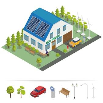 Edificio isométrico de la casa ecológica