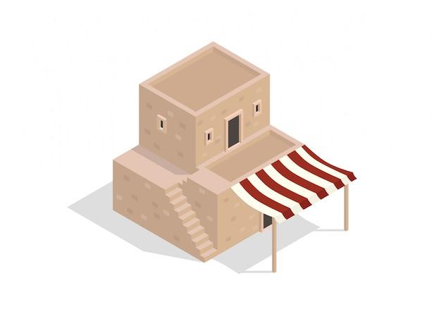 Edificio isométrico de dos pisos del medio oriente