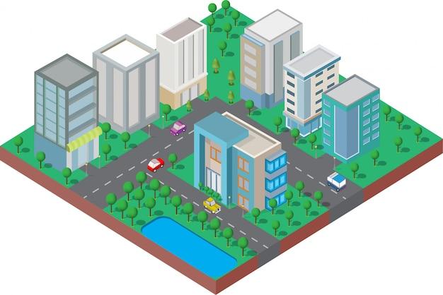 Edificio isométrico están en el patio con la carretera y los árboles. ciudad inteligente y parque público