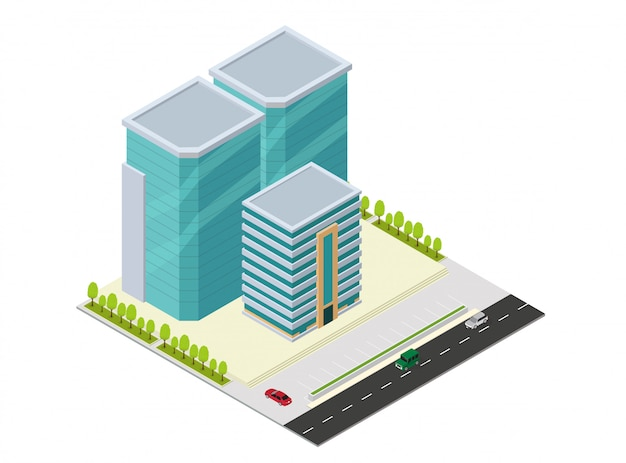Edificio isométrico de hotel, apartamento o rascacielos