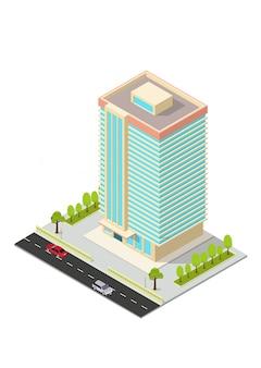 Edificio isométrico de hotel, apartamento, oficina o rascacielos