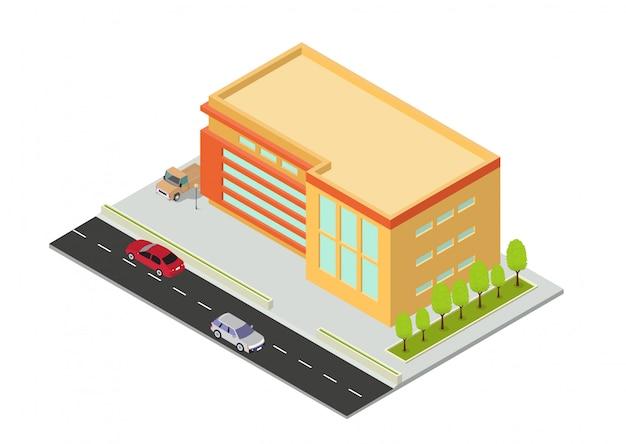 Edificio isométrico de hotel, departamento, escuela o rascacielos