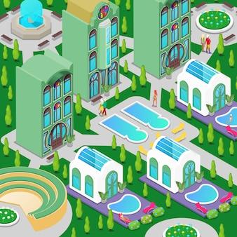 Edificio isométrico de hotel de lujo con piscina, fuente y jardín verde