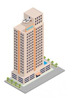 Edificio isométrico de hotel o rascacielos