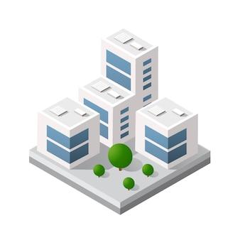 Edificio isométrico del módulo 3d