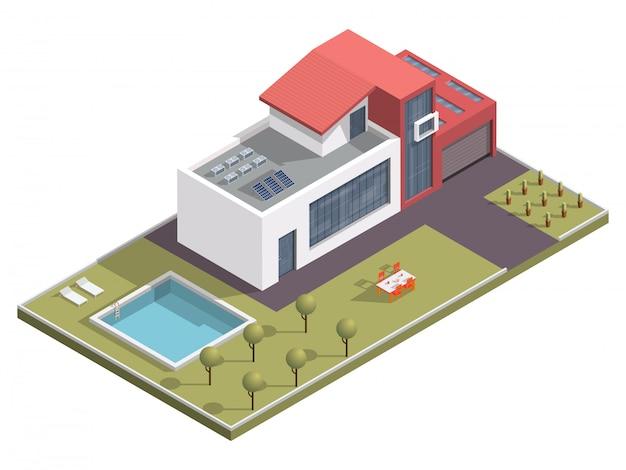 Edificio isométrico con piscina y mesa de comedor a lo largo del jardín.