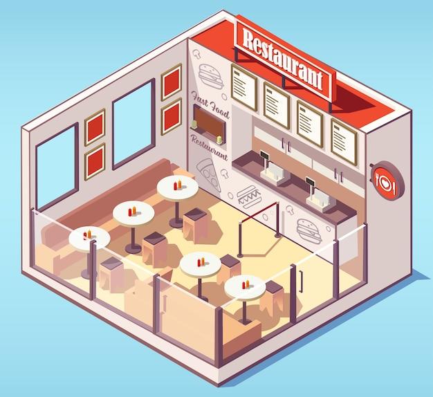 Edificio isométrico de restaurante de comida rápida.