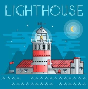 Edificio de línea delgada de faro que brilla intensamente por la noche en el concepto de océano
