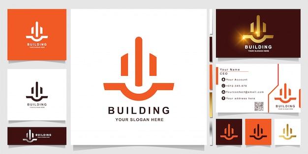 Edificio de línea minimalista o plantilla de logotipo inmobiliario con diseño de tarjeta de visita