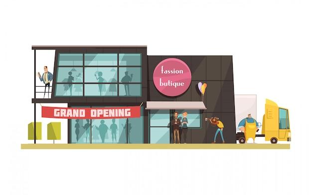 Edificio de moda boutique con ilustración de vector de dibujos animados de símbolos de gran apertura