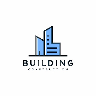 Edificio moderno diseño de logo, arquitectura, construcción premium