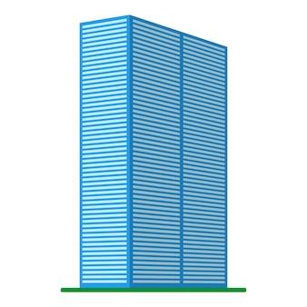Un edificio moderno de gran altura sobre un fondo blanco. vista del edificio desde abajo. ilustración vectorial isométrica.