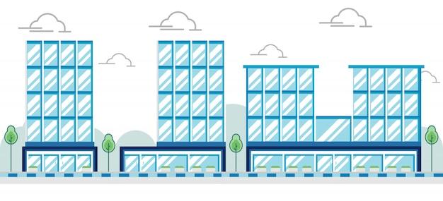 Edificio de oficinas comerciales moderno y plano