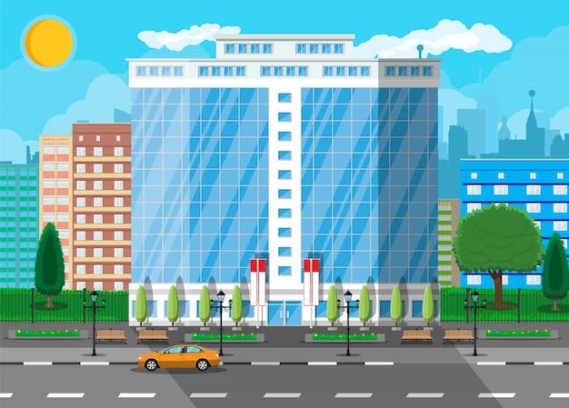 Edificio de oficinas exterior. edificio comercial