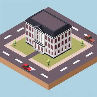 Edificio de oficinas del gobierno en una ciudad