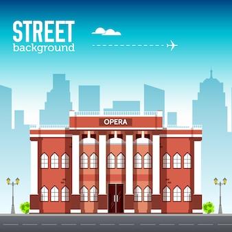 Edificio de la ópera en el espacio de la ciudad con la carretera en el concepto de fondo syle. ilustración