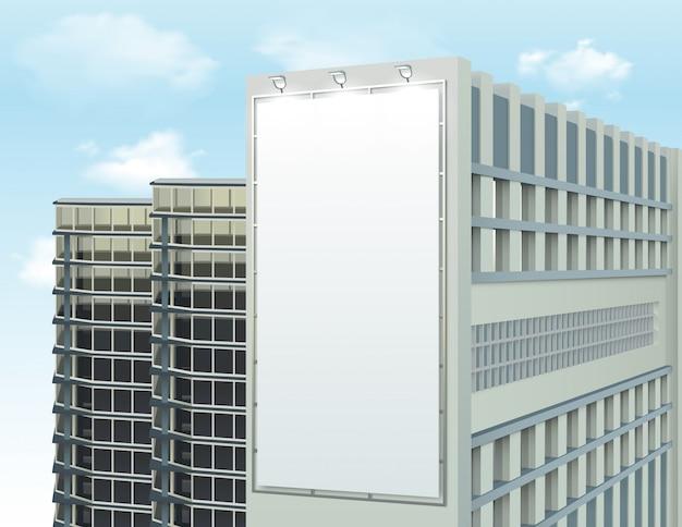 Edificio de pared anuncio espacio composición