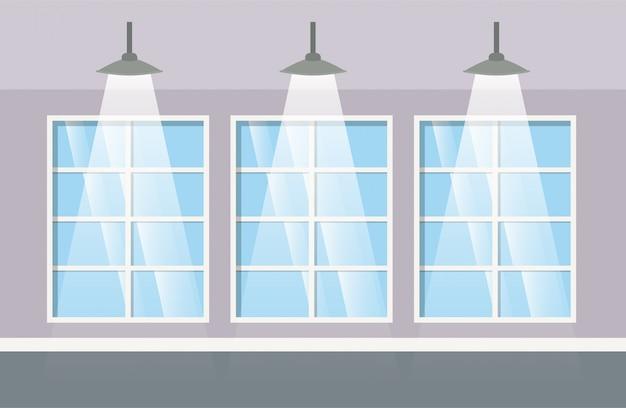Edificio del pasillo con lámparas colgantes.
