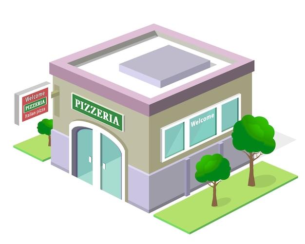Edificio de pizzería isométrica.