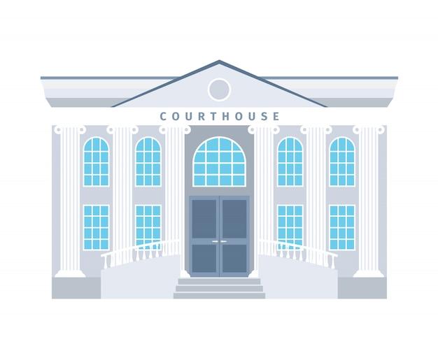 Edificio plano del palacio de justicia en colores azules aislado. ilustración vectorial