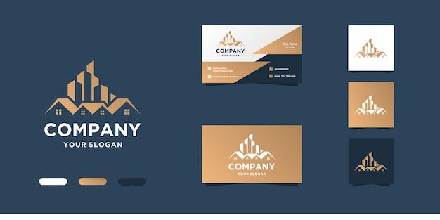 Edificio plantilla de diseño de logotipo y tarjeta de visita