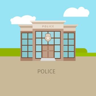 Edificio policial urbano coloreado.