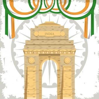 Edificio de la puerta de la india monumento con banderas