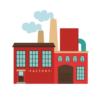 Edificio rojo de la fábrica aislado. ilustración vectorial