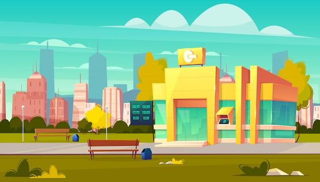 Edificio de la sucursal del banco de la ciudad con puertas de cristal, indicador de tipos de cambio de moneda y cajero automático en vector de dibujos animados de entrada. oficina del instituto financiero moderno en la ilustración de la calle metrópolis