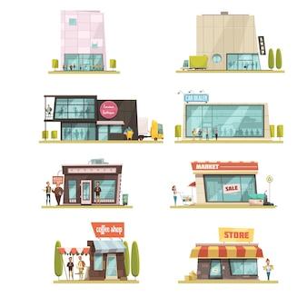 El edificio del supermercado fijó con la ilustración aislada del vector de la historieta de los símbolos de las cafeterías