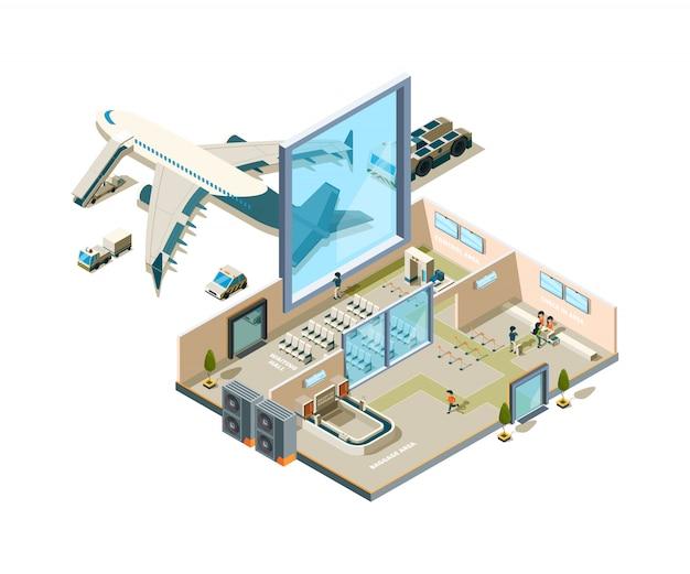 Edificio de la terminal del aeropuerto. crossection llegada interior entrada servicio de seguridad caffe transportador de equipaje tiendas vector equipo de aeropuerto