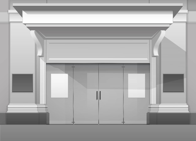 Edificio de tienda, frente de tienda con puerta de vidrio cerrada