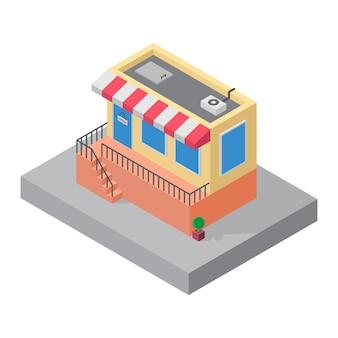 Edificio de la tienda isométrica para elemento de mapa 3d