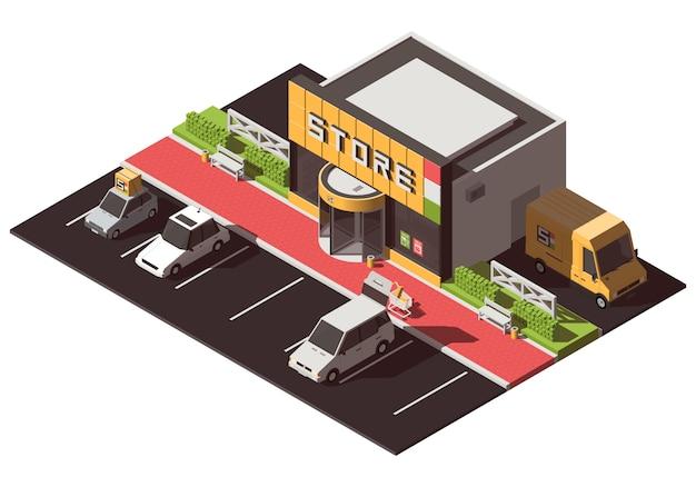Edificio de la tienda isométrica con estacionamiento.