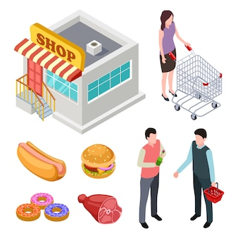 Edificio de tiendas, comida y compradores aislados
