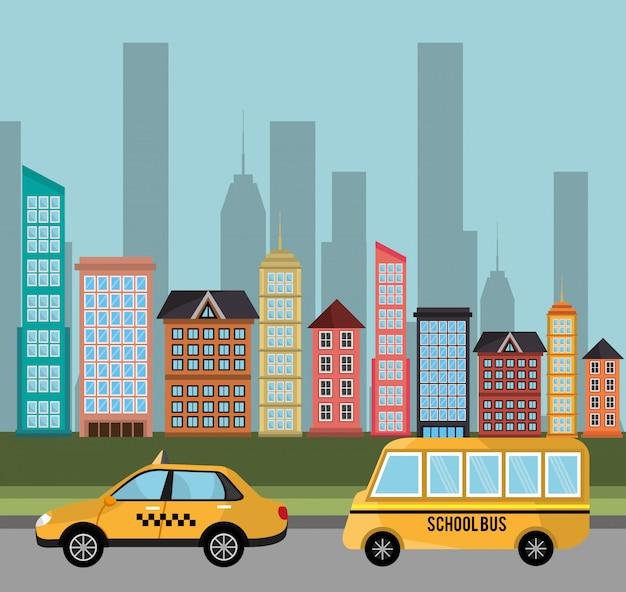 Edificio de transporte de autobús escolar de taxi