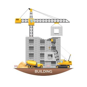 Edificio urbano en construcción.