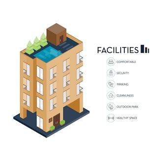 Edificio urbano isométrico. icono de instalaciones para condominio.