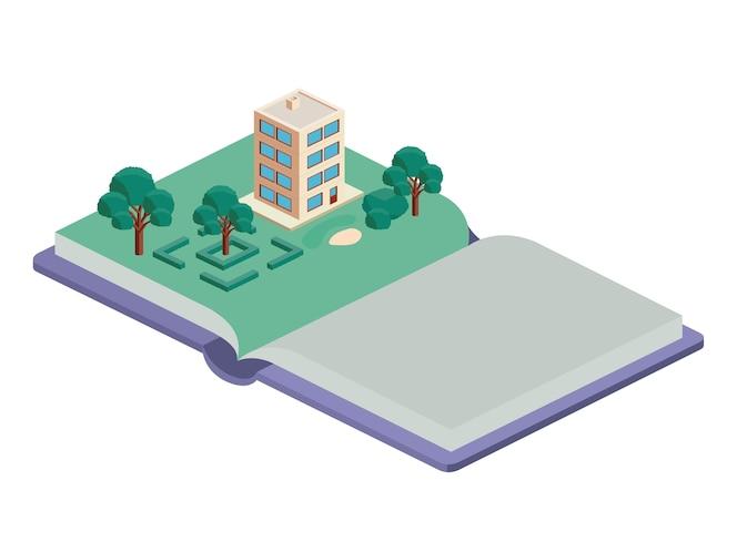 Edificio y árboles escena isométrica en el libro