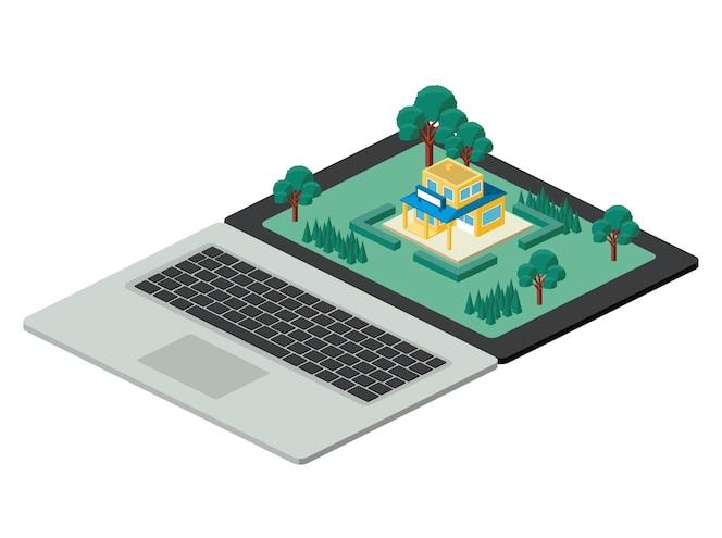 Edificio y árboles escena isométrica en la computadora portátil