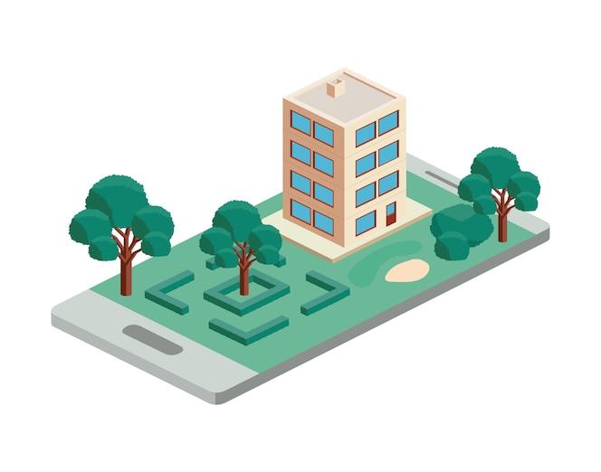 Edificio y escena isométrica de árboles en smartphone