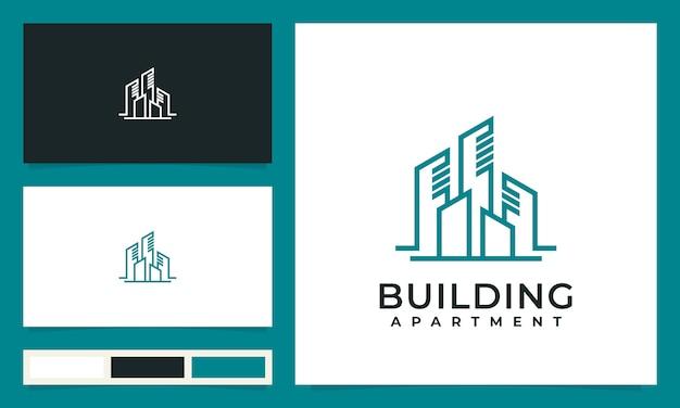 Edificios abstractos de la ciudad para inspiración, diseño de logotipos, con concepto de línea